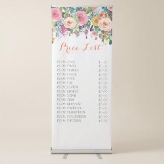 Sinal ereto livre floral pintado do preço do banner retrátil