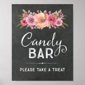 Sinal floral do casamento da barra de chocolate da pôster
