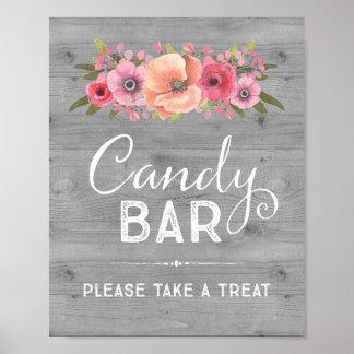 Sinal floral do casamento da barra de chocolate da poster