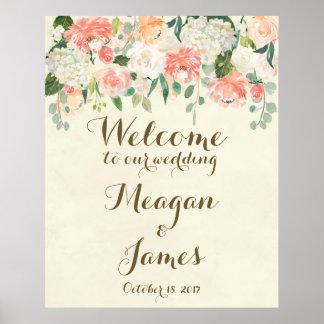 sinal floral do poster da boa vinda do casamento