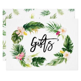 Sinal floral tropical dos presentes da grinalda da convite 12.7 x 17.78cm
