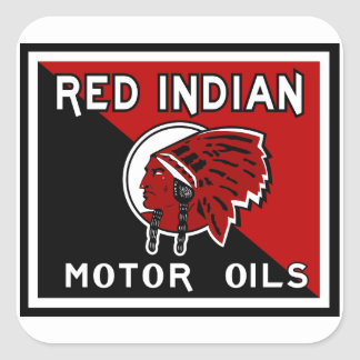 Sinal indiano vermelho do vintage dos óleos de adesivo quadrado