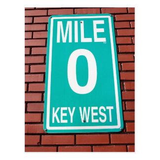 Sinal Key West Florida do marcador 0 da milha Cartão Postal