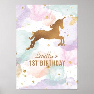 Sinal Pastel da festa de aniversário do unicórnio Pôster