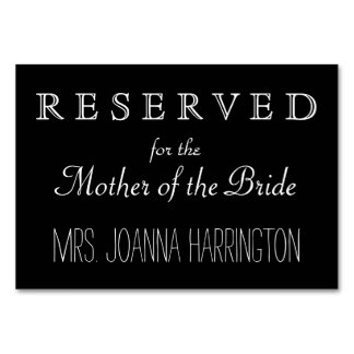 Sinal reservado do casamento preto e branco cartão