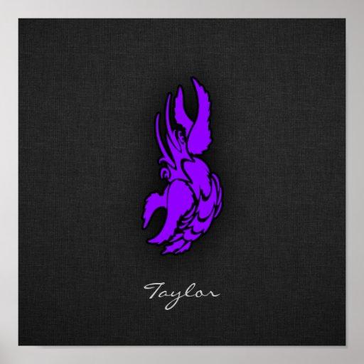 Sinal roxo violeta do cancer do zodíaco posters