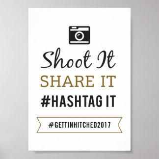 Sinal Wedding rústico simples de 5x7 Hashtag Pôster
