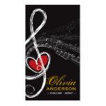Sinfonia das notas musicais da música do coração d cartões de visitas