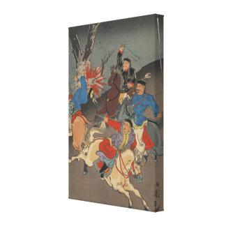 Sino guerra japonesa - imagem japonesa da arte do  impressão de canvas esticada