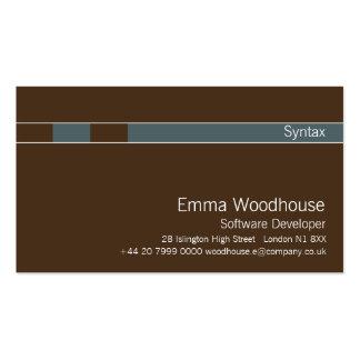 Sintaxe castanho chocolate & azul do cadete modelo cartões de visitas