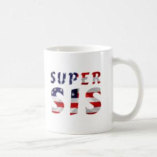 Sis super e a bandeira americana caneca de café