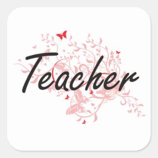 Sistema de trabalho artístico do professor com adesivo quadrado
