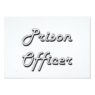 Sistema de trabalho clássico do oficial de prisão convite 12.7 x 17.78cm