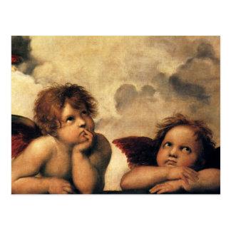 Sistine Madonna, detalhe dos anjos por Raphael Cartão Postal