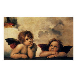 Sistine Madonna, detalhe dos anjos por Raphael Poster