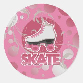 Skate de rolo cor-de-rosa do redemoinho da bolha, adesivos redondos