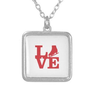 Skate do amor colar com pendente quadrado