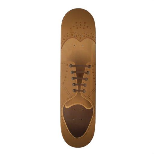 Skate dos calçados dos homens de couro de Brown da