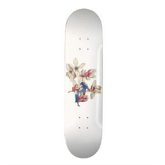 Skate flores e um pássaro
