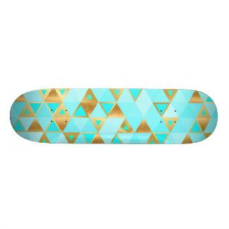 Skate geométrico do diamante de turquesa do ouro &