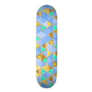 Skate geométrico do diamante do azul e do ouro