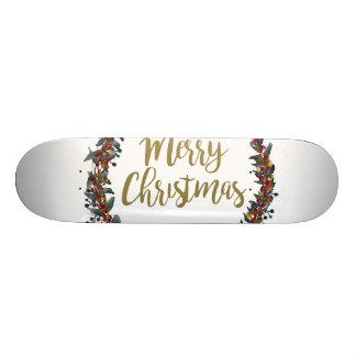 Skate Grinalda da aguarela - Feliz Natal - ramos