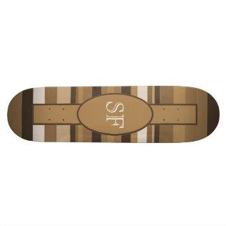 Skate Monograma bege da listra de Brown