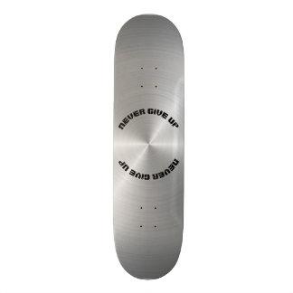 Skate Nunca dê acima, placa de metal lustrada circular