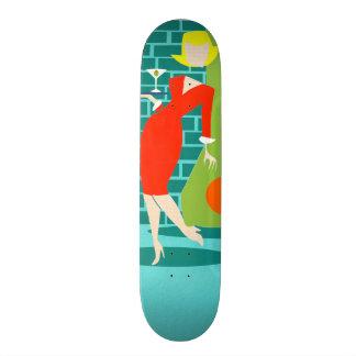 Skate retro da mulher dos desenhos animados