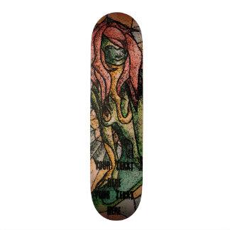 Skate senhora de levantamento verde colorido da arte