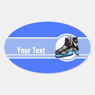 Skates do hóquei; Azul Adesivos Em Formato Oval