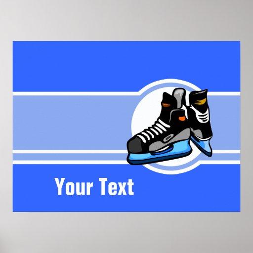 Skates do hóquei; Azul Impressão