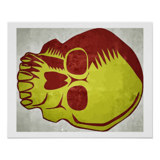 Skull red and yellow pôster