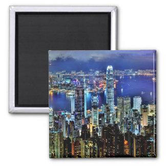 Skyline da noite de Hong Kong Ímã Quadrado