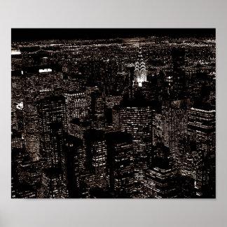Skyline da Nova Iorque do estilo antigo do Sepia Poster