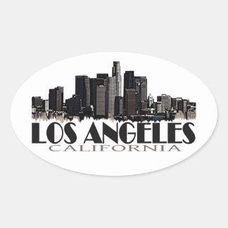 Skyline da obscuridade de Los Angeles Califórnia Adesivo Oval