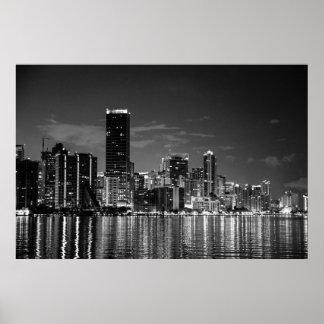 Skyline de B&W Miami Pôster