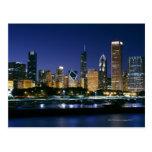 Skyline de Chicago do centro na noite Cartoes Postais