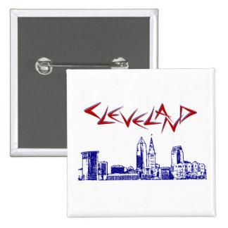 Skyline de Cleveland Bóton Quadrado 5.08cm