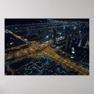 Skyline de Dubai, United Arab Emirates na noite Poster