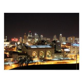 Skyline de Kansas City no cartão da noite