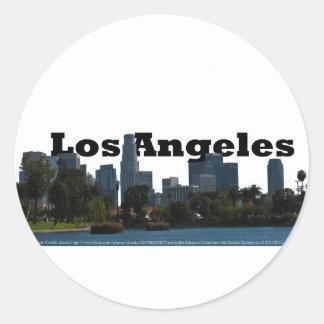 Skyline de Los Angeles com a Los Angeles no céu Adesivo Em Formato Redondo