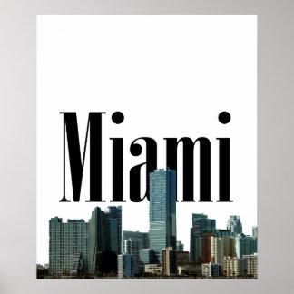 Skyline de Miami com o Miami no poster do céu Pôster