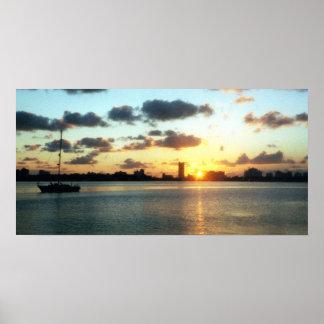 Skyline de Miami, poster do barco do por do sol de