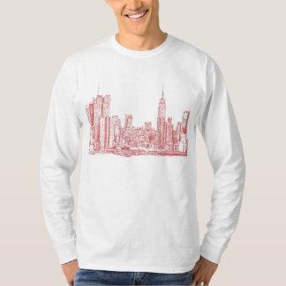 Skyline de New York rosa vermelha Camiseta