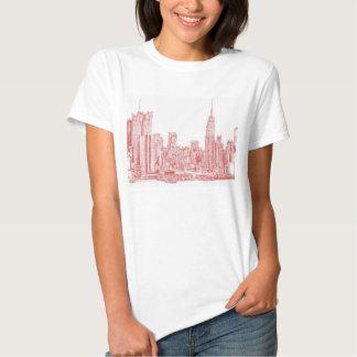 Skyline de New York rosa vermelha Tshirt