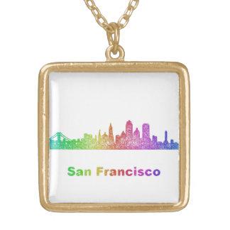 Skyline de San Francisco do arco-íris Colar Banhado A Ouro