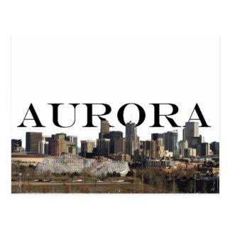 Skyline do CO da Aurora com Aurora no cartão do