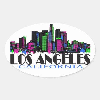 Skyline do néon de Los Angeles Califórnia Adesivos Em Formato Oval