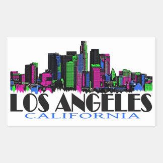Skyline do néon de Los Angeles Califórnia Adesivos Em Formato Retangulares